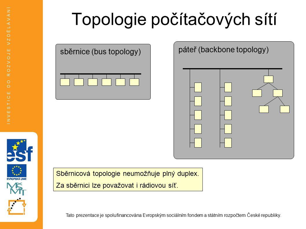 Topologie počítačových sítí Tato prezentace je spolufinancována Evropským sociálním fondem a státním rozpočtem České republiky. sběrnice (bus topology