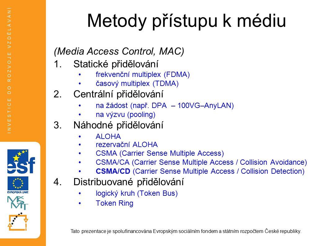 Metody přístupu k médiu (Media Access Control, MAC) 1.Statické přidělování frekvenční multiplex (FDMA) časový multiplex (TDMA) 2.Centrální přidělování na žádost (např.