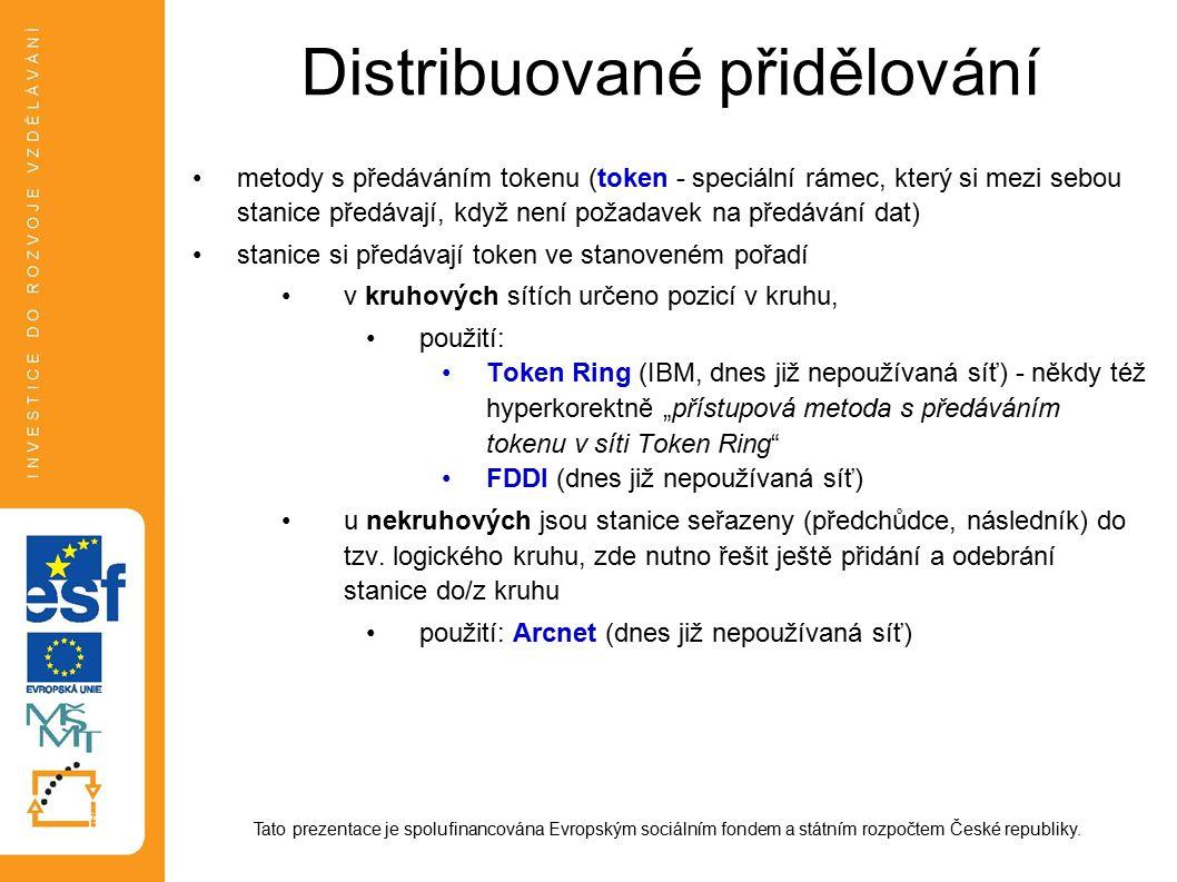 Distribuované přidělování metody s předáváním tokenu (token - speciální rámec, který si mezi sebou stanice předávají, když není požadavek na předávání