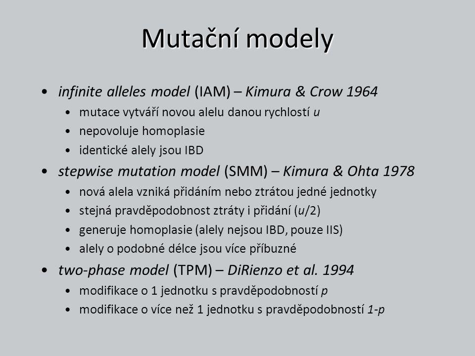 Mutační modely infinite alleles model (IAM) – Kimura & Crow 1964 mutace vytváří novou alelu danou rychlostí u nepovoluje homoplasie identické alely js