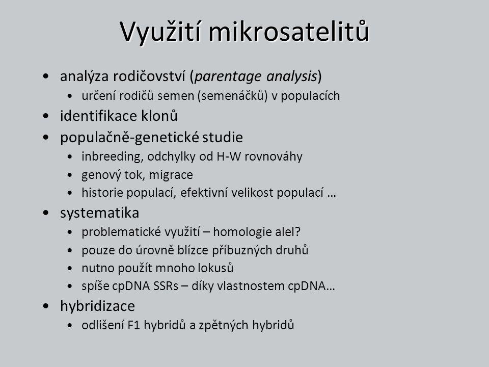 Využití mikrosatelitů analýza rodičovství (parentage analysis) určení rodičů semen (semenáčků) v populacích identifikace klonů populačně-genetické stu