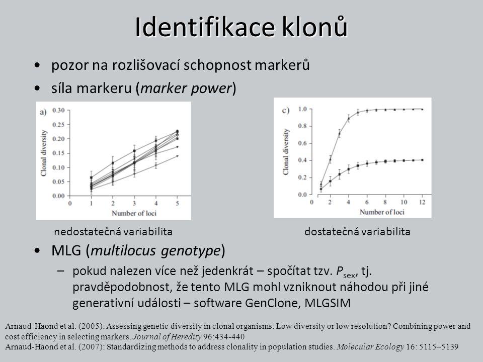 Identifikace klonů pozor na rozlišovací schopnost markerů síla markeru (marker power) MLG (multilocus genotype) –pokud nalezen více než jedenkrát – sp