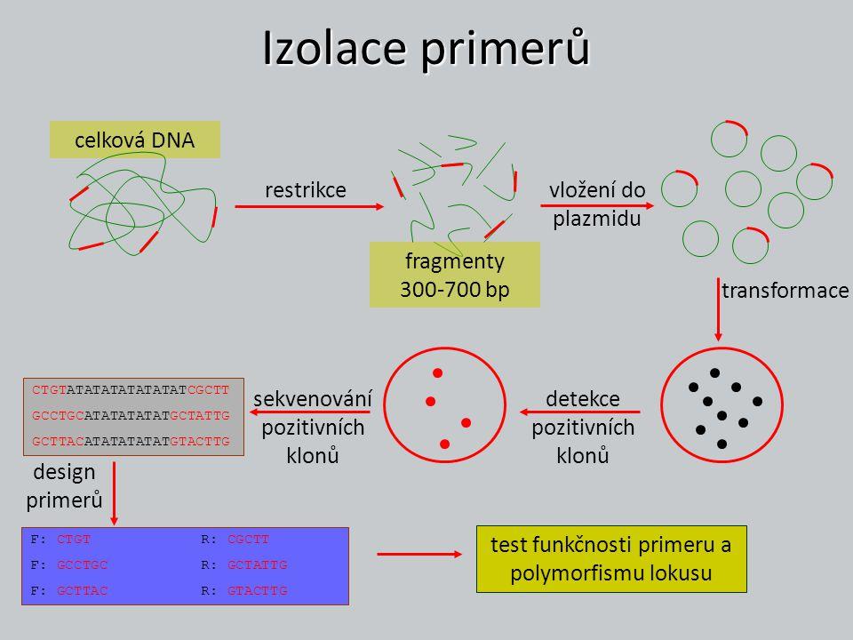 Vyhodnocování dat kodominantní marker – alelické vyhodnocení (jako allozymy) heterozygosita (pozorovaná, očekávaná) F-statistika (F IS )… vzdálenosti (mezi populacemi, jedinci) proporce sdílených alel (D ps ) Nei´s chord distance (D a ) Nei´s standard distance (D) specifické koeficienty pro mikrosatelity R ST – analog F ST (Slatkin 1995) obsahuje logiku SMM (stepwise mutation model - založen na varianci v délce alel) odhady – ρ ST (Rousset 1996) vzdálenosti delta mu – (dm) 2, D dm (Goldstein et al.