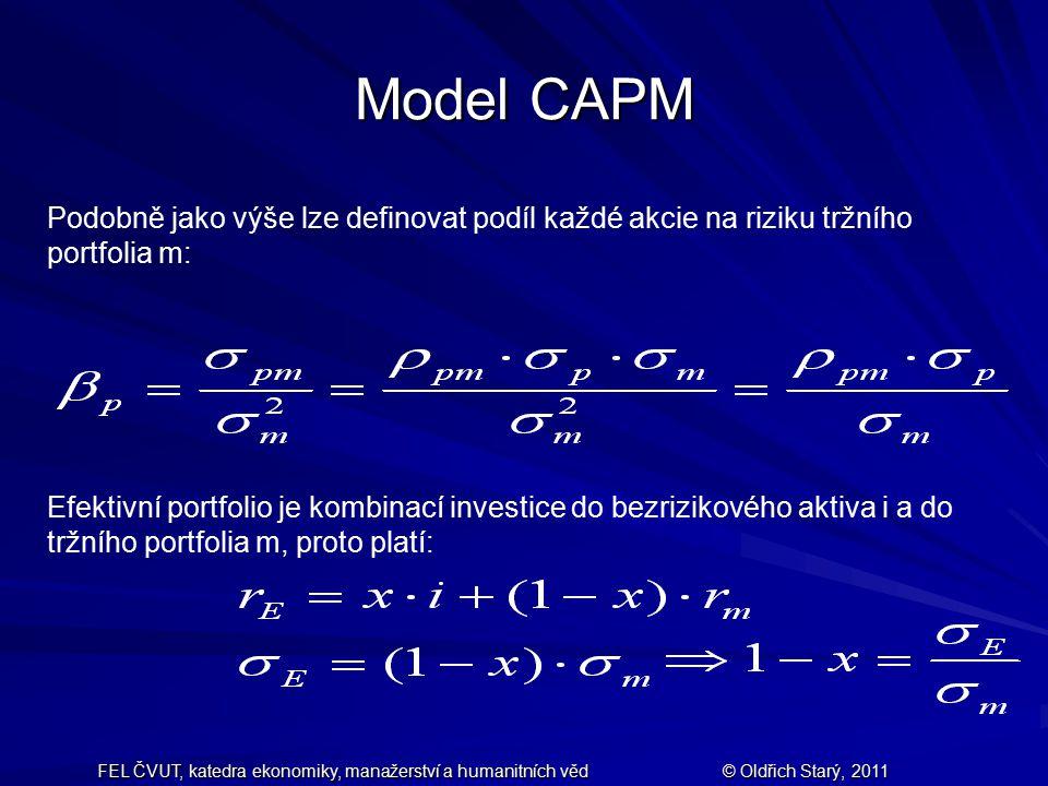 FEL ČVUT, katedra ekonomiky, manažerství a humanitních věd© Oldřich Starý, 2011 Model CAPM Podobně jako výše lze definovat podíl každé akcie na riziku