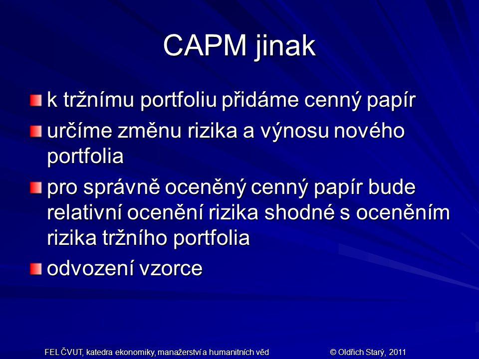 FEL ČVUT, katedra ekonomiky, manažerství a humanitních věd© Oldřich Starý, 2011 CAPM jinak k tržnímu portfoliu přidáme cenný papír určíme změnu rizika