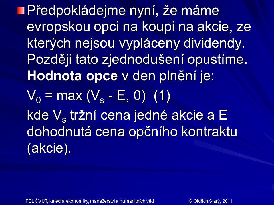 FEL ČVUT, katedra ekonomiky, manažerství a humanitních věd© Oldřich Starý, 2011 Předpokládejme nyní, že máme evropskou opci na koupi na akcie, ze kter