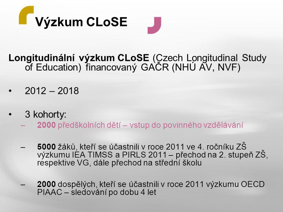 Výzkum CLoSE Longitudinální výzkum CLoSE (Czech Longitudinal Study of Education) financovaný GAČR (NHÚ AV, NVF) 2012 – 2018 3 kohorty: –2000 předškoln