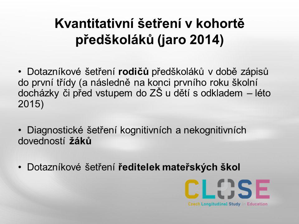 Kvantitativní šetření v kohortě předškoláků (jaro 2014) Dotazníkové šetření rodičů předškoláků v době zápisů do první třídy (a následně na konci první