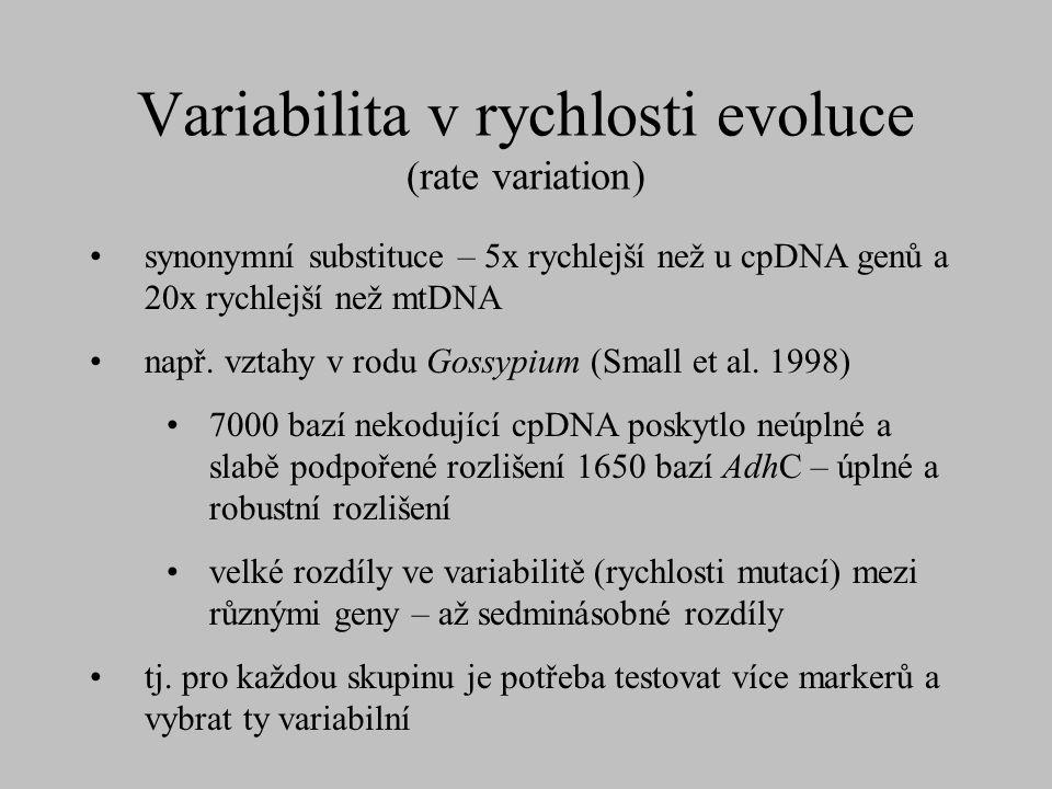 Variabilita v rychlosti evoluce (rate variation) synonymní substituce – 5x rychlejší než u cpDNA genů a 20x rychlejší než mtDNA např. vztahy v rodu Go