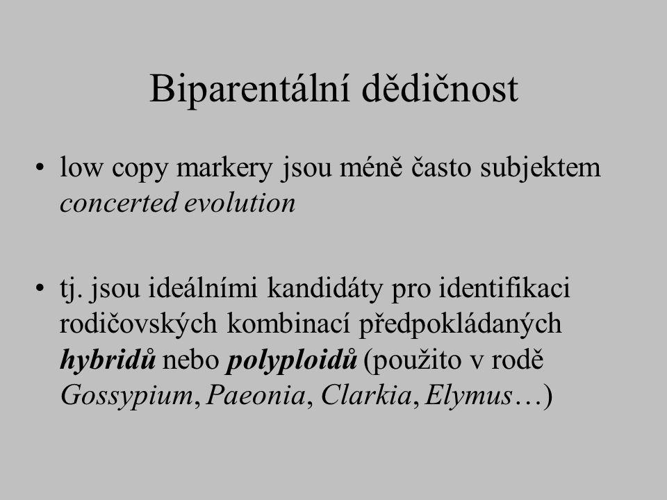 Biparentální dědičnost low copy markery jsou méně často subjektem concerted evolution tj. jsou ideálními kandidáty pro identifikaci rodičovských kombi