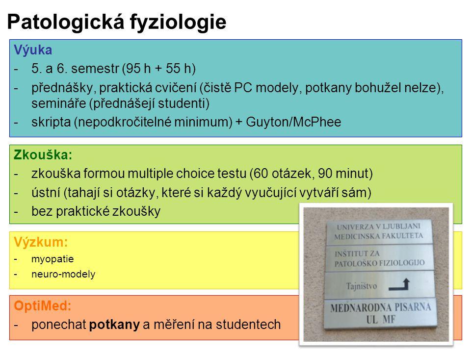 Patologická fyziologie Zkouška: -zkouška formou multiple choice testu (60 otázek, 90 minut) -ústní (tahají si otázky, které si každý vyučující vytváří