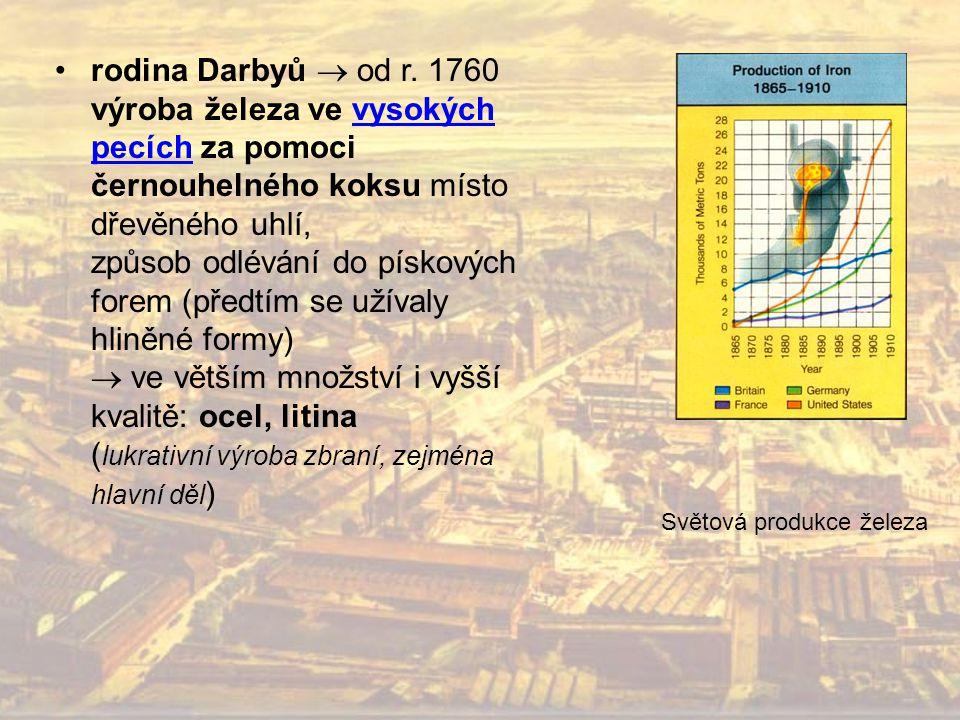 rodina Darbyů  od r. 1760 výroba železa ve vysokých pecích za pomoci černouhelného koksu místo dřevěného uhlí, způsob odlévání do pískových forem (př