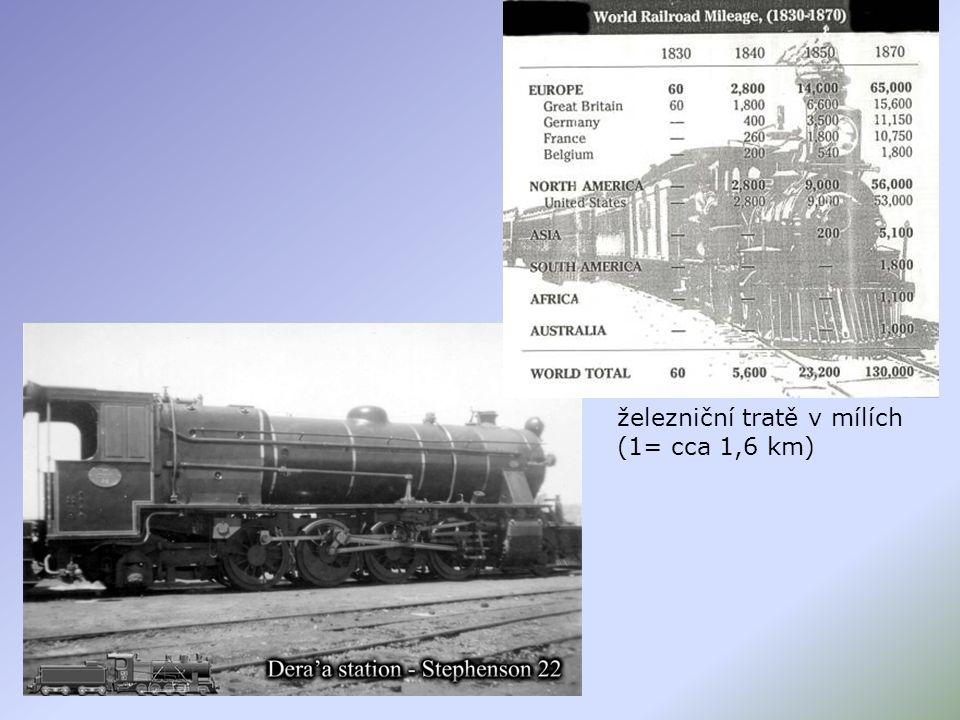 železniční tratě v mílích (1= cca 1,6 km)