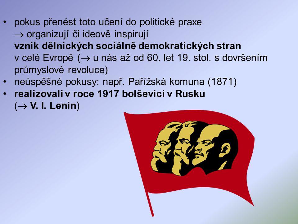pokus přenést toto učení do politické praxe  organizují či ideově inspirují vznik dělnických sociálně demokratických stran v celé Evropě (  u nás až