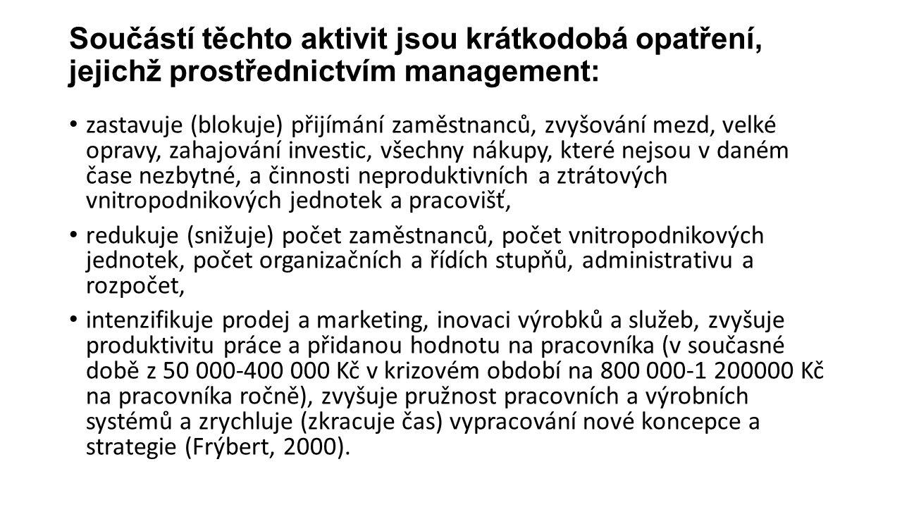 Součástí těchto aktivit jsou krátkodobá opatření, jejichž prostřednictvím management: zastavuje (blokuje) přijímání zaměstnanců, zvyšování mezd, velké