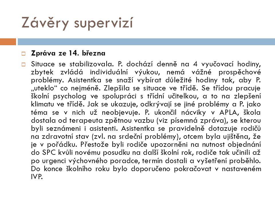 Závěry supervizí  Zpráva ze 14. března  Situace se stabilizovala. P. dochází denně na 4 vyučovací hodiny, zbytek zvládá individuální výukou, nemá vá