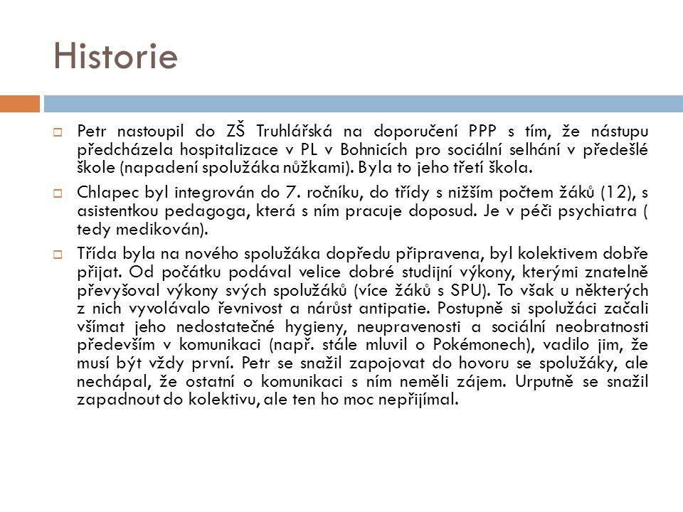 Historie  Petr nastoupil do ZŠ Truhlářská na doporučení PPP s tím, že nástupu předcházela hospitalizace v PL v Bohnicích pro sociální selhání v přede