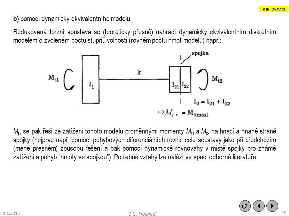b) pomocí dynamicky ekvivalentního modelu Redukovaná torzní soustava se (teoreticky přesně) nahradí dynamicky ekvivalentním diskrétním modelem o zvole