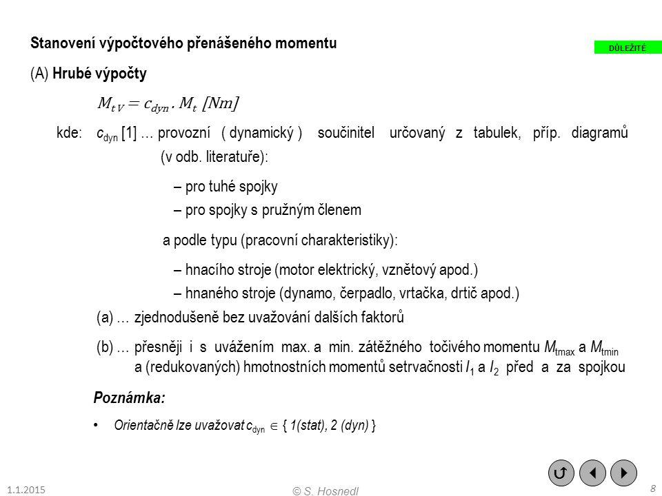 Stanovení výpočtového přenášeného momentu (A) Hrubé výpočty M t V = c dyn. M t [Nm] kde: c dyn [1] … provozní ( dynamický ) součinitel určovaný z tabu