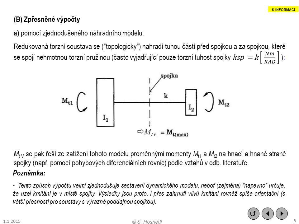 b) pomocí dynamicky ekvivalentního modelu Redukovaná torzní soustava se (teoreticky přesně) nahradí dynamicky ekvivalentním diskrétním modelem o zvoleném počtu stupňů volnosti (rovném počtu hmot modelu) např.: M tv se pak řeší ze zatížení tohoto modelu proměnnými momenty M t1 a M t2 na hnací a hnané straně spojky (nejprve např.