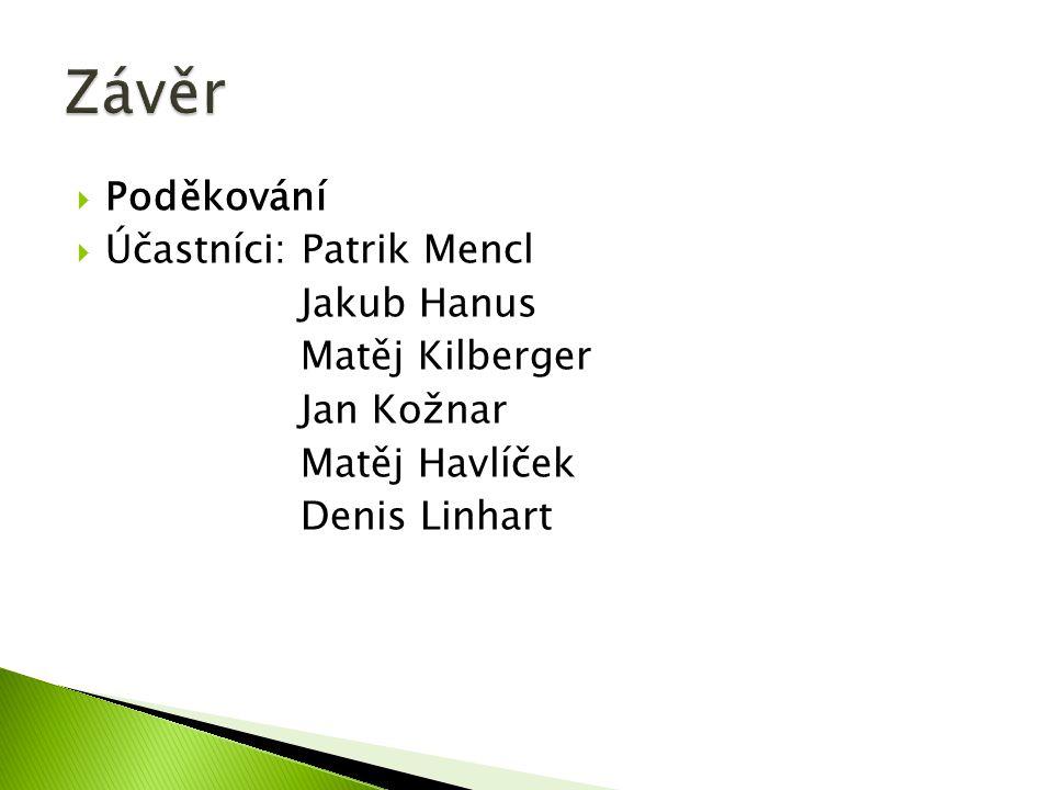 Poděkování  Účastníci: Patrik Mencl Jakub Hanus Matěj Kilberger Jan Kožnar Matěj Havlíček Denis Linhart