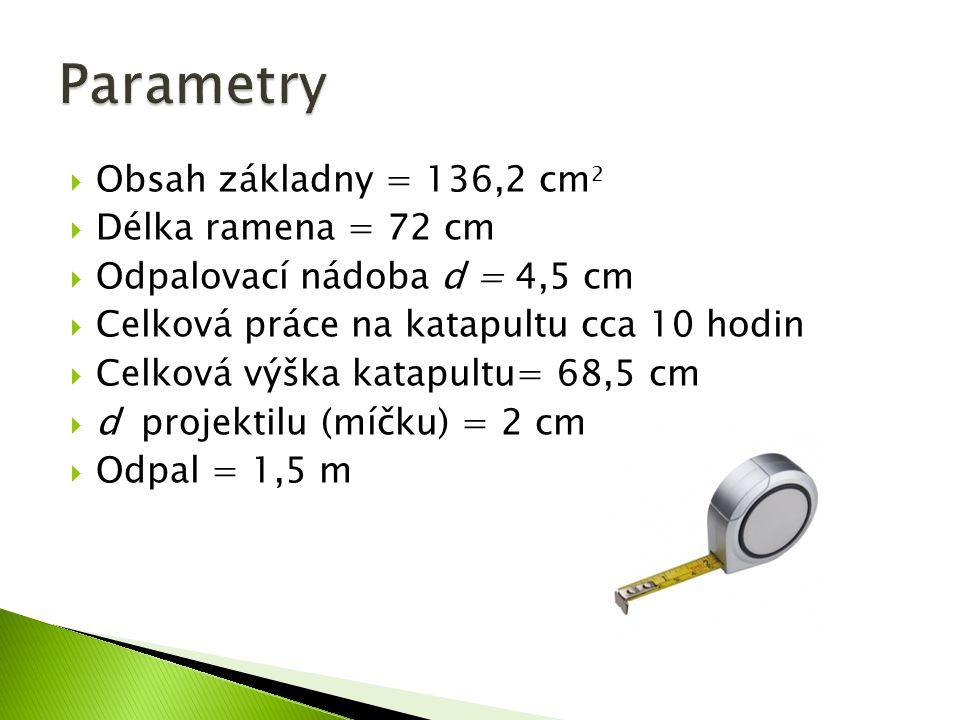  Obsah základny = 136,2 cm 2  Délka ramena = 72 cm  Odpalovací nádoba d = 4,5 cm  Celková práce na katapultu cca 10 hodin  Celková výška katapult