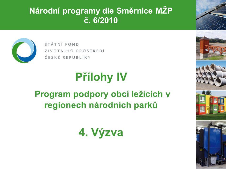 Národní programy dle Směrnice MŽP č.