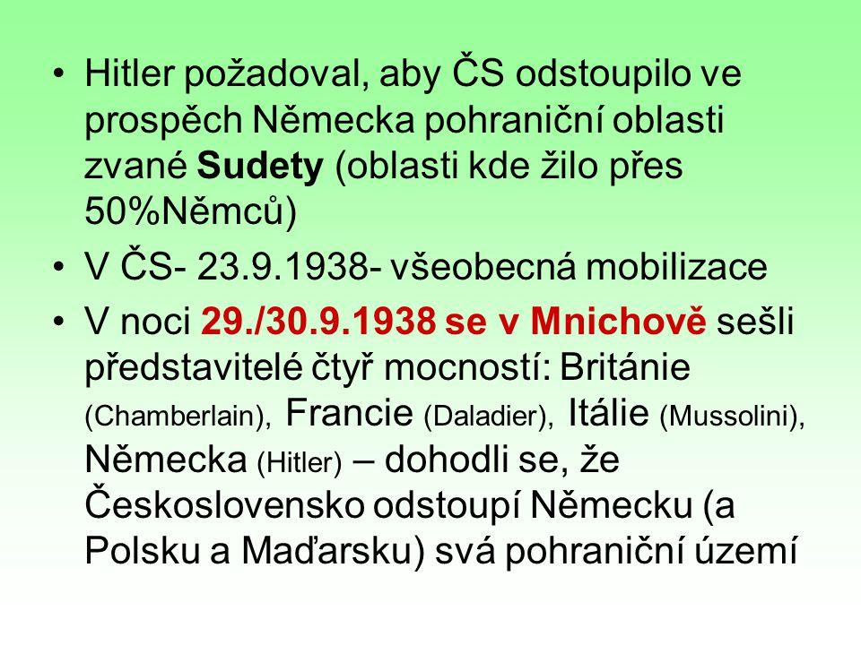 Hitler požadoval, aby ČS odstoupilo ve prospěch Německa pohraniční oblasti zvané Sudety (oblasti kde žilo přes 50%Němců) V ČS- 23.9.1938- všeobecná mobilizace V noci 29./30.9.1938 se v Mnichově sešli představitelé čtyř mocností: Británie (Chamberlain), Francie (Daladier), Itálie (Mussolini), Německa (Hitler) – dohodli se, že Československo odstoupí Německu (a Polsku a Maďarsku) svá pohraniční území
