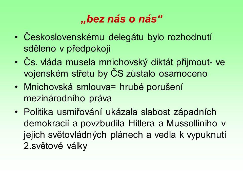 """""""bez nás o nás"""" Československému delegátu bylo rozhodnutí sděleno v předpokoji Čs. vláda musela mnichovský diktát přijmout- ve vojenském střetu by ČS"""