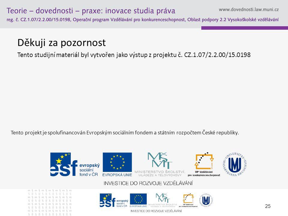 Děkuji za pozornost Tento studijní materiál byl vytvořen jako výstup z projektu č. CZ.1.07/2.2.00/15.0198 25 Tento projekt je spolufinancován Evropský