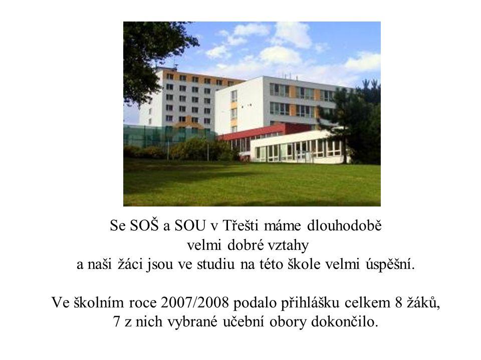 Se SOŠ a SOU v Třešti máme dlouhodobě velmi dobré vztahy a naši žáci jsou ve studiu na této škole velmi úspěšní. Ve školním roce 2007/2008 podalo přih