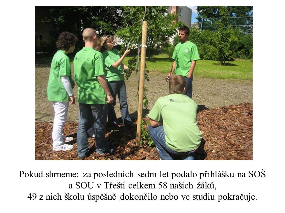 Pokud shrneme: za posledních sedm let podalo přihlášku na SOŠ a SOU v Třešti celkem 58 našich žáků, 49 z nich školu úspěšně dokončilo nebo ve studiu p