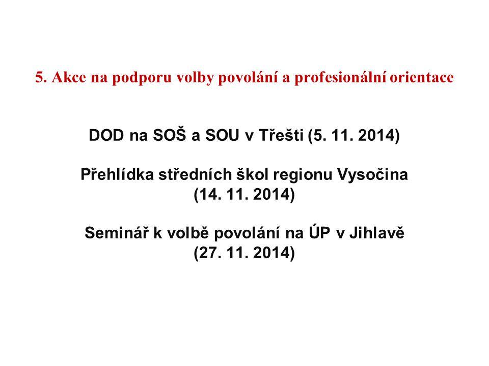 5. Akce na podporu volby povolání a profesionální orientace DOD na SOŠ a SOU v Třešti (5. 11. 2014) Přehlídka středních škol regionu Vysočina (14. 11.