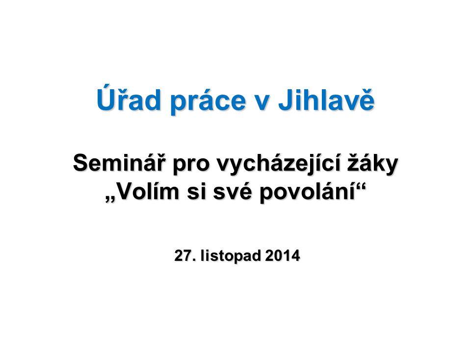 """Úřad práce v Jihlavě Seminář pro vycházející žáky """"Volím si své povolání"""" 27. listopad 2014"""