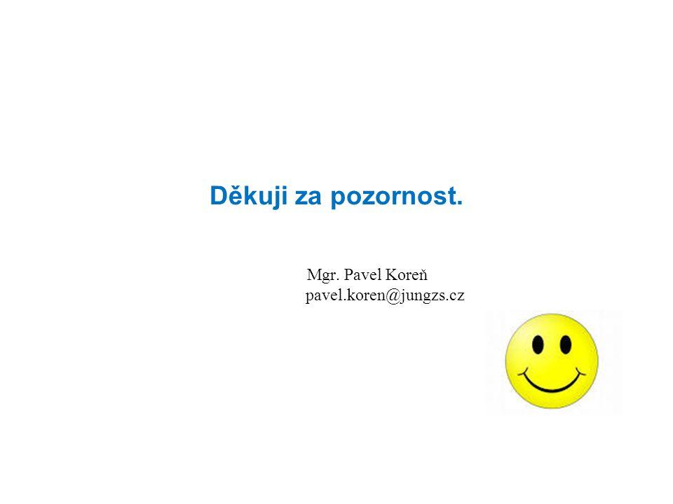 Děkuji za pozornost. Mgr. Pavel Koreň pavel.koren@jungzs.cz