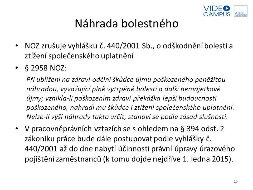 Náhrada bolestného NOZ zrušuje vyhlášku č. 440/2001 Sb., o odškodnění bolesti a ztížení společenského uplatnění § 2958 NOZ: Při ublížení na zdraví odč