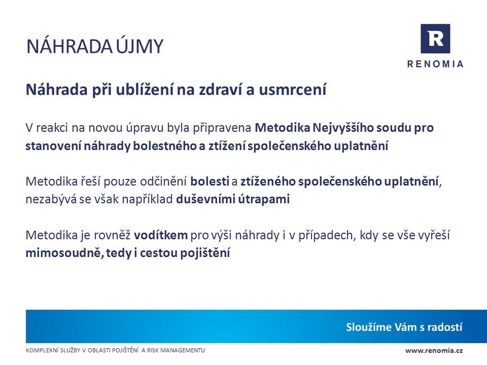 www.renomia.cz KOMPLEXNÍ SLUŽBY V OBLASTI POJIŠTĚNÍ A RISK MANAGEMENTU NÁHRADA ÚJMY Náhrada při ublížení na zdraví a usmrcení V reakci na novou úpravu