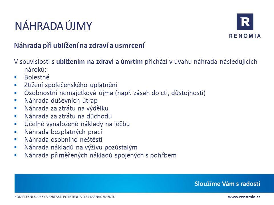 www.renomia.cz KOMPLEXNÍ SLUŽBY V OBLASTI POJIŠTĚNÍ A RISK MANAGEMENTU NÁHRADA ÚJMY Náhrada při ublížení na zdraví a usmrcení V souvislosti s ublížení