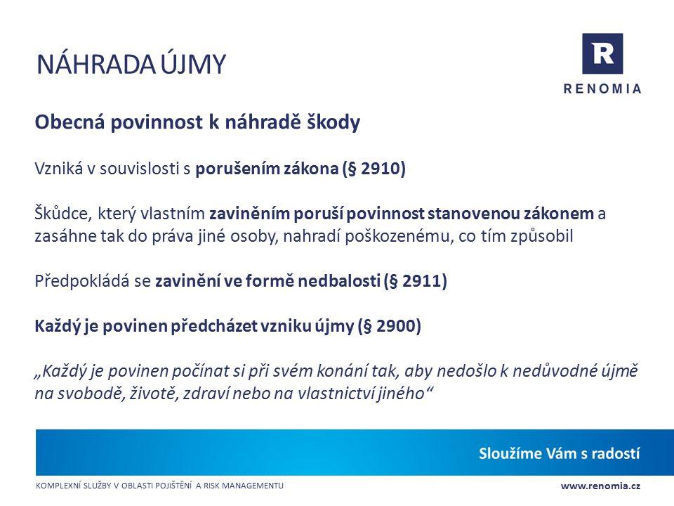 www.renomia.cz KOMPLEXNÍ SLUŽBY V OBLASTI POJIŠTĚNÍ A RISK MANAGEMENTU NÁHRADA ÚJMY Obecná povinnost k náhradě škody Vzniká v souvislosti s porušením