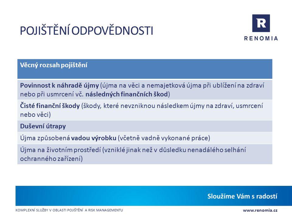 www.renomia.cz KOMPLEXNÍ SLUŽBY V OBLASTI POJIŠTĚNÍ A RISK MANAGEMENTU POJIŠTĚNÍ ODPOVĚDNOSTI Věcný rozsah pojištění Povinnost k náhradě újmy (újma na