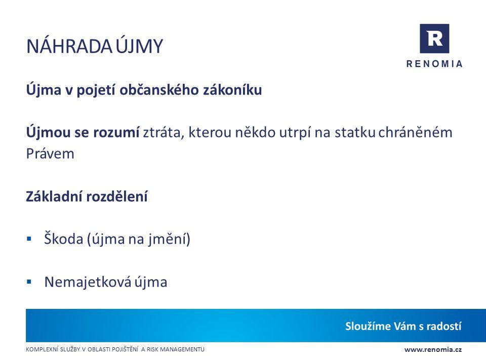 www.renomia.cz KOMPLEXNÍ SLUŽBY V OBLASTI POJIŠTĚNÍ A RISK MANAGEMENTU NÁHRADA ÚJMY Újma v pojetí občanského zákoníku Újmou se rozumí ztráta, kterou n
