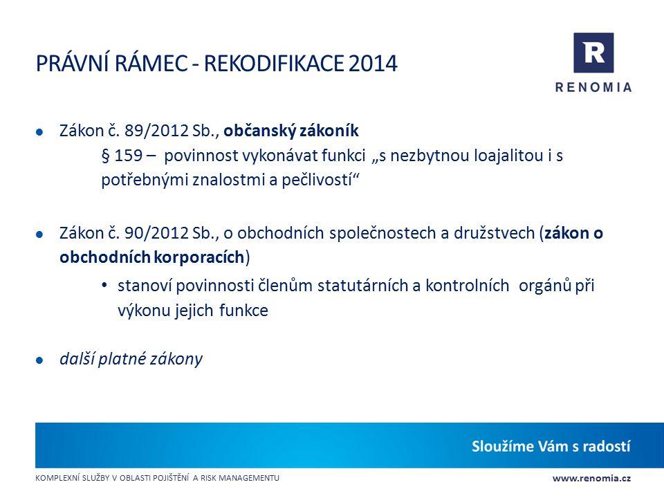 www.renomia.cz KOMPLEXNÍ SLUŽBY V OBLASTI POJIŠTĚNÍ A RISK MANAGEMENTU PRÁVNÍ RÁMEC - REKODIFIKACE 2014 ● Zákon č. 89/2012 Sb., občanský zákoník § 159