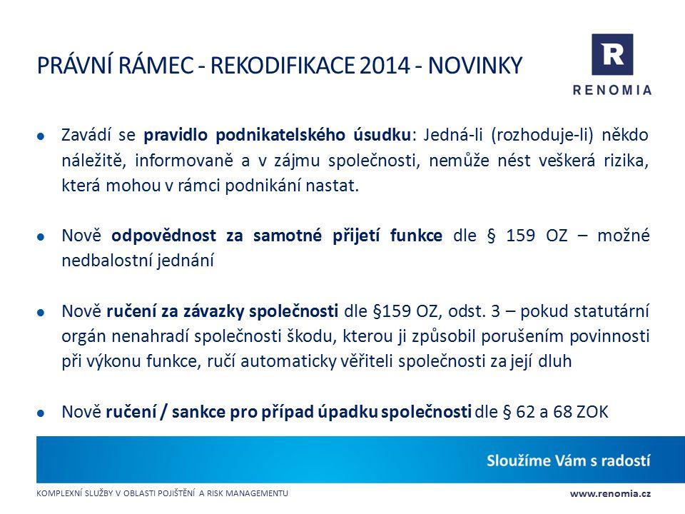 www.renomia.cz KOMPLEXNÍ SLUŽBY V OBLASTI POJIŠTĚNÍ A RISK MANAGEMENTU PRÁVNÍ RÁMEC - REKODIFIKACE 2014 - NOVINKY ● Zavádí se pravidlo podnikatelského