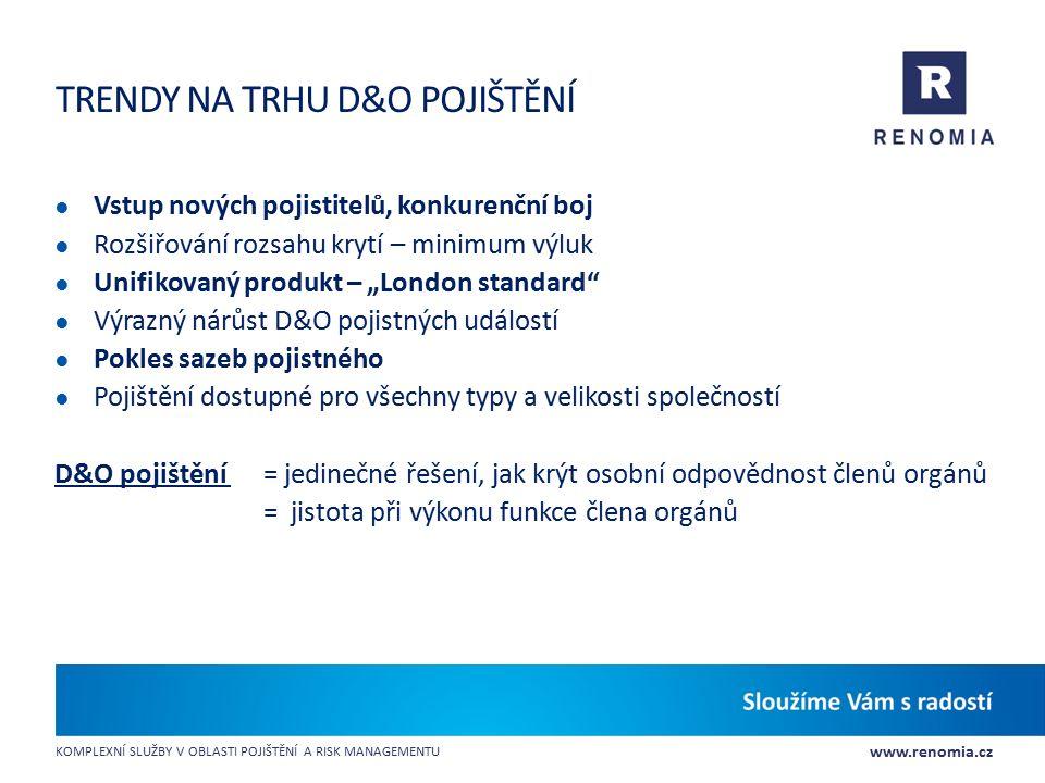 www.renomia.cz KOMPLEXNÍ SLUŽBY V OBLASTI POJIŠTĚNÍ A RISK MANAGEMENTU TRENDY NA TRHU D&O POJIŠTĚNÍ ● Vstup nových pojistitelů, konkurenční boj ● Rozš
