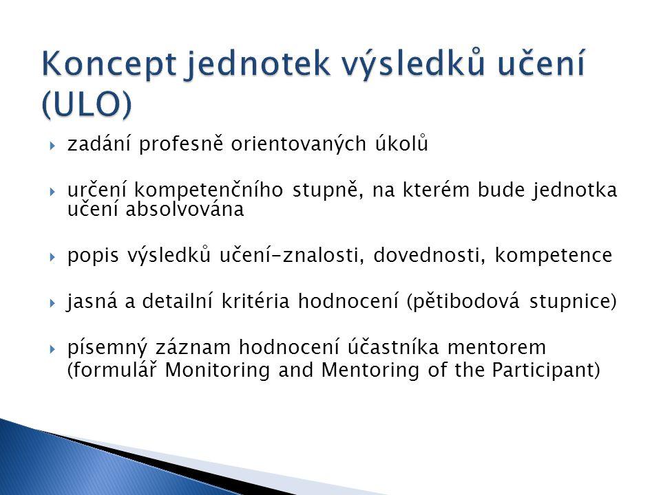  zadání profesně orientovaných úkolů  určení kompetenčního stupně, na kterém bude jednotka učení absolvována  popis výsledků učení-znalosti, dovednosti, kompetence  jasná a detailní kritéria hodnocení (pětibodová stupnice)  písemný záznam hodnocení účastníka mentorem (formulář Monitoring and Mentoring of the Participant)