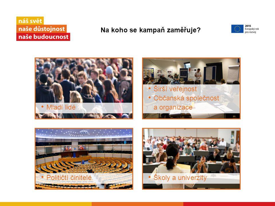 Mladí lidé Političtí činitelé Širší veřejnost Občanská společnost a organizace Školy a univerzity Na koho se kampaň zaměřuje