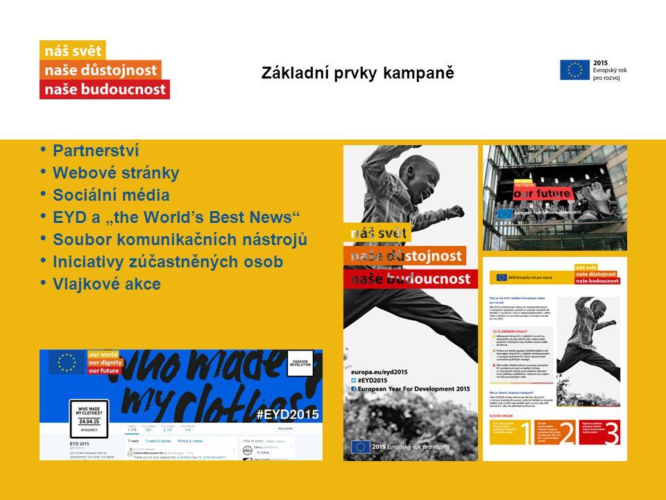 """Partnerství Webové stránky Sociální média EYD a """"the World's Best News Soubor komunikačních nástrojů Iniciativy zúčastněných osob Vlajkové akce Základní prvky kampaně"""