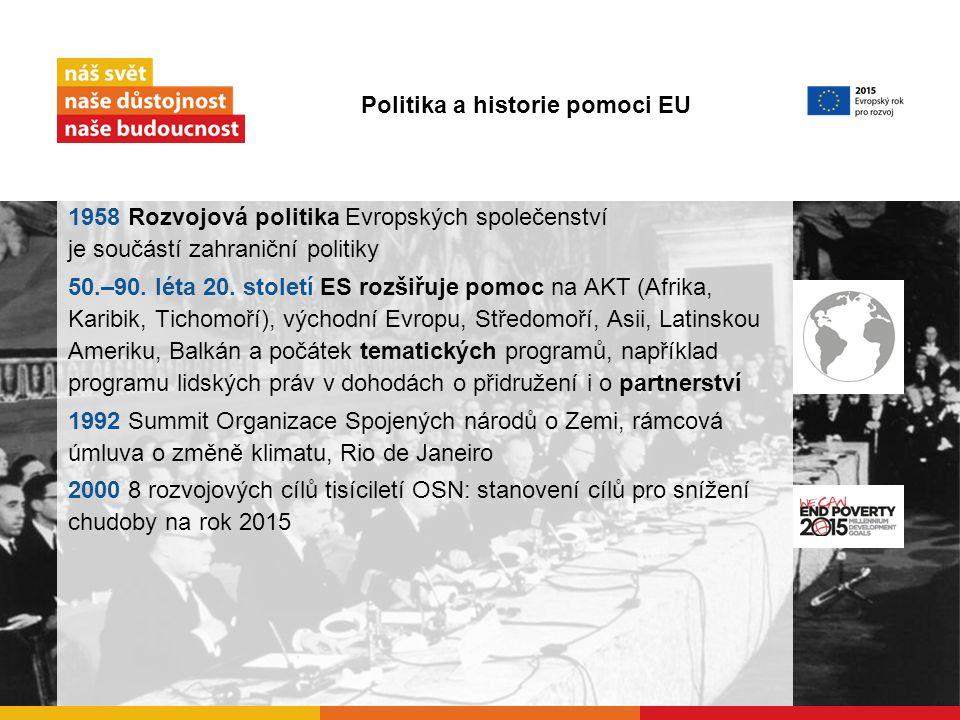 1958 Rozvojová politika Evropských společenství je součástí zahraniční politiky 50.–90.