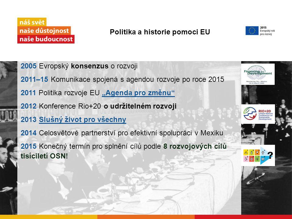 """2005 Evropský konsenzus o rozvoji 2011–15 Komunikace spojená s agendou rozvoje po roce 2015 2011 Politika rozvoje EU """"Agenda pro změnu """"Agenda pro změnu 2012 Konference Rio+20 o udržitelném rozvoji 2013 Slušný život pro všechnySlušný život pro všechny 2014 Celosvětové partnerství pro efektivní spolupráci v Mexiku 2015 Konečný termín pro splnění cílů podle 8 rozvojových cílů tisíciletí OSN."""