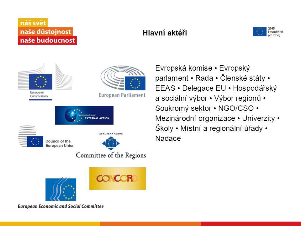 Evropská komise Evropský parlament Rada Členské státy EEAS Delegace EU Hospodářský a sociální výbor Výbor regionů Soukromý sektor NGO/CSO Mezinárodní organizace Univerzity Školy Místní a regionální úřady Nadace Hlavní aktéři